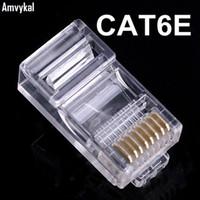 rj45 rj 45 venda por atacado-Amvykal Qualidade Superior RJ45 RJ-45 8P8C CAT6 Plug Modular Ethernet Adaptador de Cabo Lan conector de rede RJ-45 CAT6E
