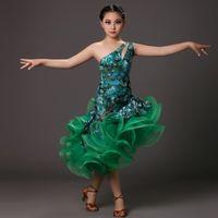 Wholesale Salsa Dresses For Kids - New professional green dance costumes for kids latin dress fringe tiger elastic dancewear rumba samba costumes salsa dress