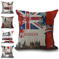 Wholesale london cover - London Paris Eiffel Tower Statue of Liberty Sights Pillow Case Cushion Cover Linen Cotton Throw Pillowcases Sofa Cars Decorative Pillowcover