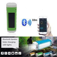 Wholesale Mini Portable Solar - Solar Power Bluetooth Speaker with Flashlight Camping Light TF Card FM Radio Outdoor Activities Mini Wireless Speaker for Universal Phones
