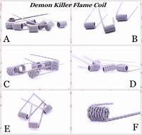 tipos de bobina vape venda por atacado-100% Authentic Demon Killer Flame Coil Prebuilt Wire 316L Pré-construído Aquecimento Premade Fios 6 Tipos de Resistência Para DIY Vape Atomizadores RDA eCig