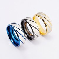 Wholesale blue middle finger - Titanium Stripe Twill Ring Simple Band Gold Blue Black Ring Finger Rings band Ring Cuffs Women Men Lovers Fashion Jewelry Drop Ship 080196