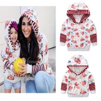 Wholesale Girls Floral Hoody - Mother and daughter flower printing fashion hoody pink stripe floral splicing hoodie jacket mother and girls famili matching outfit 2-6T