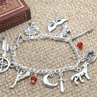 Wholesale Magic Diary - 12pcs The Vampire Diaries inspired bracelet Tree mask Raven Arrow teeth Magic charm bracelet