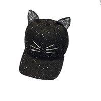 Wholesale Knitted Hats Ball Pattern - Wholesale- Women Summer Hats Cat Ear Pattern Cat Ear Pattern knitting Hoeden Voor Meisjes