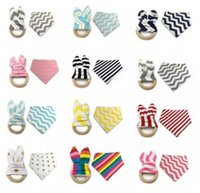 Wholesale Wholesale Fleece Sets - 2017 New Arrival Baby Bibs & Teethers Set Feeding 18 Colors Chevron Polka Dots Crinkle Teething Toys Fleeced Bandana Triangle Drool Bibs