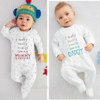Wholesale I Love Dad Romper - 2017 Autumn New baby clothing set Long Sleeve Letter I Love Mom I Love Dad Romper Newborn baby Boy Girl clothes