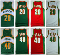 Wholesale Glove Retro - All stitched soincs legends basketball jerseys 'The Glove' 20 Gary Payton 'Rain Man' #40 Shawn Kemp embroidered HWC nights retro jerseys