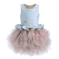 Wholesale floral embroidery prom dress for sale - Group buy Cutestyle Girl Party Dress Sleeveless Golden Floral Embroidery Fuffles Knee Length Patchwork Tiered Tulle Children Prom Dress G DMGD908