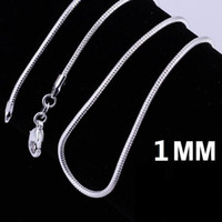 Wholesale Silver Sterling Jewellry Necklace - 925 Stering Silver Chain Fine Jewelry silver smooth snake chains Necklace 1MM mixe size 16 18 20 22 24 inch Jewellry Free DHL