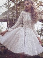 Wholesale Silver Full Length Evening Gown - 2017 Vintage Full Lace Little White Short Prom Dresses Arabic Dubai Long Sleeves Jewel Neck A Line Evening Party Cocktail Gowns BA3645