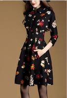 Wholesale Slimmer Neck Line - Seven new autumn commuter women sleeve splicing print dress waist A-line A Europe 2017 spring - seven new commuter Jacquard Dress slim waist