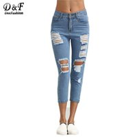 Wholesale Dual Jeans - Wholesale- Dotfashion Women Blue Ripped Skinny Ankle Length Pants Mid Waist Button Fly Dual Pockets Skinny Cropped Jeans