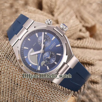 Wholesale high power watches - High Quality Overseas Dual Time Blue Dial Power Reserve 47450 Automatic Mens Watch P47450 000A-9039 Rubber Strap Brand Cheap Gents Watches