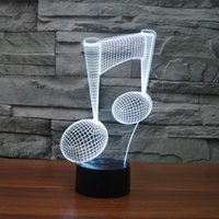 музыкальные ноты love оптовых-Бесплатная доставка 7 изменение цвета LED Light USB 3D Luminaria Music Note Night Light Baby Instrument лампа для ноутбука usb Home Decor для музыки любовь