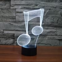 ce dizüstü bilgisayar toptan satış-Ücretsiz Kargo 7 Renk Değişimi LED Işık USB 3D Luminaria Müzik Not Gece Lambası Bebek Enstrüman Lamba için usb Dizüstü Ev Dekor Müzik Aşk için