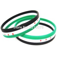 Wholesale Cup Chain Settings Wholesale - Wholesale- 1000pcs Tri-color Stripe Flag World Cup Syrian wristband silicone bracelets free shipping by DHL express