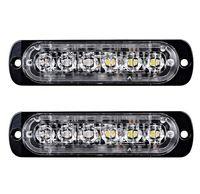 Wholesale Amber Leds - 2pcs free shipping red blue squad car Engineering ambulance led Strobe Emergency Warning Light with 6 LEDs