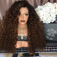 Wholesale Black Women Afro - Afro Kinky Curly Synthetic Lace Front Wig Black To Brown Ombre Wigs Heat Resistant Best Quality Synthetic Wigs for Black Women