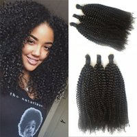 Wholesale Bulk Curly Hair Extensions - Afro Kinky Curly Human Hair Bulk Unprocessed Indian Hair Extensions Natural Black Bulk Hair 8-32 inch FDSHINE