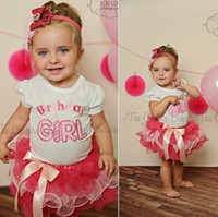 Wholesale Birthday Party Outfits - Newborn baby girl Birthday dress top+skirt 2pcs outfit kid clothing sweet princess dresses mini skirts pink party lace tutu dress clothes