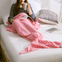 Wholesale Microfiber Blanket Soft - Brand New Mermaid Tail blanket adult throw bed Wrap super soft sleeping bag Casual handmade crochet mermaid blanket