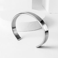 Wholesale Nordic Minimalist - New Gentleman 316L Titanium Steel Bracelet Nordic Minimalist C-shaped open Titanium Steel Men jewelry pulseras Jewelry