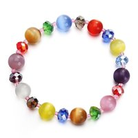 Новые Charm Colorful Crystal Beaded Brackets с эластичными пряди для женщин 10мм Rhinestone opal Stone Strands Bracelet Wholesale Gift