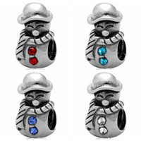 Wholesale Christmas Beads European Bracelet - 10pcs lot mixed Fashion Real 100% 925 Sterling Silver Rhinestone Christams Beads Fit European Bracelet Authentic Luxury DIY Jewelry Gift
