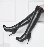 Wholesale Hot Sexy Girls Leather - New Arrival Hot Sale Specials Influx Sweet Girl Sexy Spike Super Martin Elegant Elastic Slim Pointed Big Size Heels Overknee Boots EU34-44