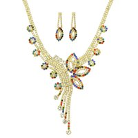 Wholesale Colorful Rhinestone Bridal Necklace Sets - Wedding Jewelry Set Jewelry Gold Chain with Colorful Rhinestone Big Flower Collar Necklace and Bridal Earrings