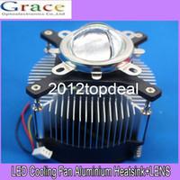 lente led de alta potencia al por mayor-50w 100w de alta potencia led disipador de calor DC 12V 1.2A kit de lente ventilador de refrigeración + 44mm