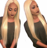 Wholesale Middle Part Lace Remy Wig - Malaysian Blonde Human Hair Full Lace Wig Silky Straight 613 Color Remy Hair Middle Part With Bleached Knots Hand Tied