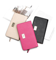 Wholesale New Women S Leather Wallet - New PINK South Korea Envelope Women 's Scrub leather long multi - card wallet wallet simple wallet card package TOP1589