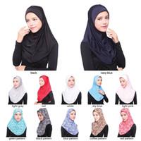 Wholesale Woman Hat Glitter - wholesale New Arrival Hijab Scarves Muslim Head Scarf Arab Islamic Head Wear Hat Women's Shawls Headband 12 colors