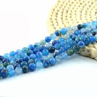 Wholesale Blue Agate Round - Natural Blue Stripe Agate Round Loose Semi Precious Gemstone Beads For Jewelry Making 4 6 8 10mm Strand 15 inch per Set L0112#
