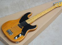 Wholesale guitar single - Custom Precision Bass 4 Strings Yellow Natural Electric Bass Guitar Alder Body Maple Neck Single Pickups Black Pickguard