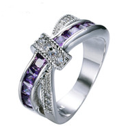 Wholesale Vintage Red Rhinestone Jewelry Set - Female Purple Cross Ring Fashion White Gold Filled Jewelry Vintage Wedding Rings For Women Birthday Stone Gifts