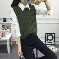 Wholesale Knitted Sweater Vest Korean - Wholesale-2016 Autumn pullover knit round neck vest for Women Korean style Fashion Knitted sleeveless pullover Sweater