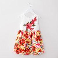 Wholesale Cute Round Collar Dress - new arrivals European and American style round collar sleeveless flower print dress cute children princess skirt