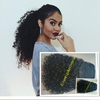 Wholesale Real Hair Hairpieces - New arrival kinky curly Ponytail Hair Extension real Human Hair drawstring Pony tail Hairpiece 100g-160g natural black 1b#