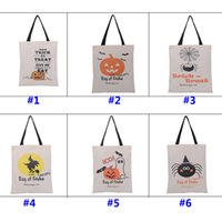 Wholesale Wholesale Fabric Handbags Gifts - 36*46cm New Halloween Sacks Candy Gifts Bag Handbag Reusable Canvas Tote Cartoon Storage Bag Pumpkin Spider Print Shoulder Bag WX-B14