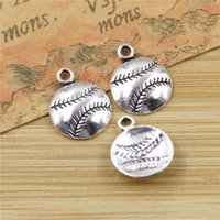 Wholesale baseball charms for jewelry making for sale - Group buy Baseball Charms Pendants for Jewelry Making Vintage Antique Silver Plated DIY handmade mm