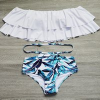 Wholesale Plus Size Swimwear Free Shipping - Bikini New Doubledeck flouncing Swimsuit plus size XXL bathing suit sexy women High waist swiming suits Off Shoulder Swimwear Free Shipping