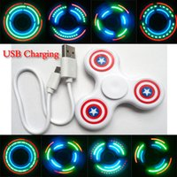 Wholesale In Stock LED LIGHT Fidget Spinner Hand Spinner different patterns with swith on off Fidget finger spinner toys Decompression Anxiety Toys