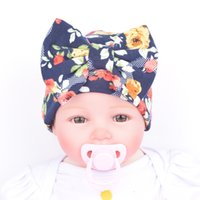 Wholesale Maternity Korean - Korean Newborn hat Boutique Maternity Accessories Baby girl knit Hats cotton bow hats Cap florals Maternity Autumn winter 0-3months 2016