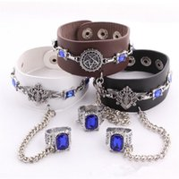 Charm Bracelets black butler ring - Black Butler Anime Leather Bracelets With Alloy Rings Punk Charm Bracelets Jewelry For Cosplay Hot Sale