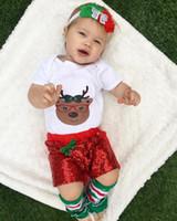 Wholesale Girls Deer Tshirt - Christmas Baby Girls Clothing Sets Tshirt Short Sequin Pants Headwear and Socks Deer Pattern Infant Clothing