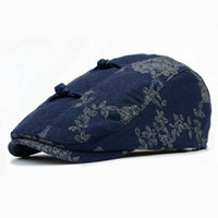 Wholesale Gatsby Hat Cotton - 2017 New Fashion Unisex Printing Floral Chinoiserie Beret Hat Women Curved Brim Cap Chic Men Duckbill Gabble Hats Gatsby Caps