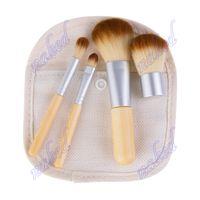 Wholesale bamboo makeup brushes set resale online - bamboo brushes in bag pack bamboo makeup brushes portable cm design put in Gunny bag